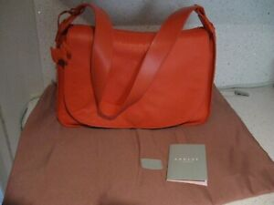 Radley Handbag Orange Leather NEW with pink Radley dust bag and tags and Dog