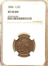 1806 1/2 C Half Cent Small 6 No Stems NGC XF 45 Rare Early Date Lowest Price