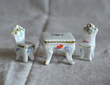 Vintage Dollhouse Tiny Porcelain Table Chairs Furniture, Japan