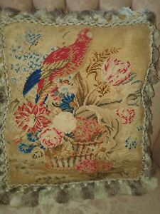 Beautiful antique mid Victorian  needlework cushion/ pillow bird in flowers