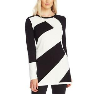 Vince Camuto Womens Colorblock Jewel Neck Tunic Sweater BHFO 1744