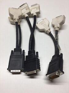 Lot of 3 CN-0X6918 1:2 Splitter Molex 59 Pin To DVI Female