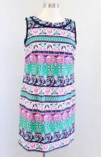 Talbots Navy Blue Green Pink Floral Striped Fringe Trim Shift Dress Size 8P
