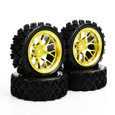 Rubber Block Tires & Wheel 4pcs For 1/10 RC Rally Racing Off Road Car PP0487+DHG