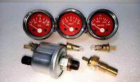 Electrical  Oil+temp Sender 52mm Electrical Oil Pressure + Temp + Volt -Red ME
