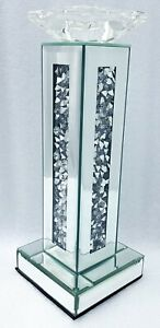 Diamond Crush Crystal Sparkly Silver Mirrored Decorative Candle Holder Tall 32cm