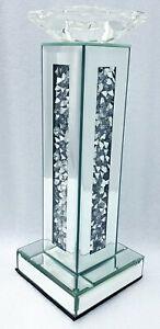 Diamant Zerdrücken Kristall Glitzer Silber Verspiegelt Deko Kerzenständer Hoch