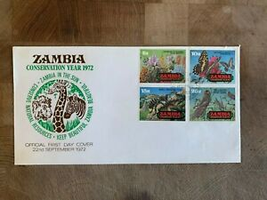 ZAMBIA 1972 FDC OR USED CONSERVATION FLOWER LOCUST BUTTERFLY BEE