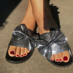 Womens Slippers Sandals Fashion Flats Bowknot Buckle Open Toe Breathable Summer