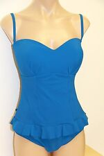 New Profile by Gotex Swimsuit 1 one pc Sz 12 Midnight Blue Removable Straps