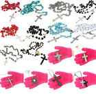 Crystal Glass Rosary Beads Silver Gold Cross Necklace Pendant For Women Men Girl