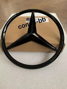 FRONT GRILLE STAR BADGE For MERCEDES-BENZ E Class W213 W238 2016+ Gloss Black