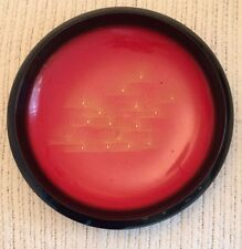 Japanese Red & Black Lacquer Shallow Serving Bowl With Gold Design Vintage NEW