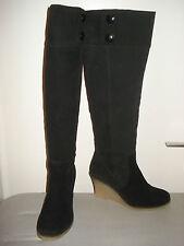 Stiefel lang, AKIRA,schwarz,Größe 38,Veloursleder,Keilabsatz 8cm, Reißverschluss