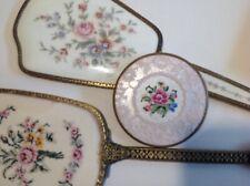 Antique Vintage Petit Point 3 x Hand mirrors & 1 compact