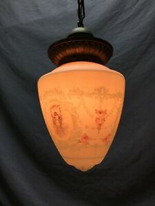 Antique Victorian Frosted Pendant Shabby Ceiling Light Fixture Chic Old 1018-20B