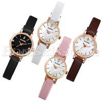 Women Simple Casual Charm Rhinestone Leather Band Thin Quartz Analog Wrist Watch