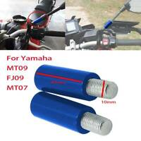 Blue Rear View Mirrors Extenders For Yamaha MT09 FJ09 MT07 Tracer MT10 40mm A