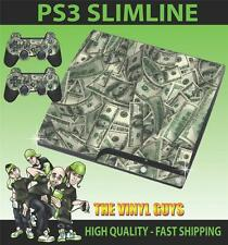 PLAYSTATION PS3 SLIM STICKER DOLLAR BILL CASH MONEY BENJAMINS SKIN & 2 PAD SKINS