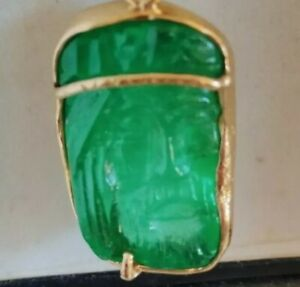 REAL JESUS CHRIST EMERALD PENDANT 20 CTS SCULPTED JESUS COLOMBIAN 14CTS GOLD