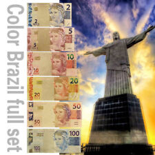WR Color Gold Foil Brazil Set 6pcs Banknote Reals Polymer Note Collection Gifts