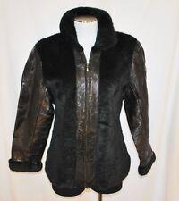 Navarre Leather Company Italian Stone Design Black Faux Fur Leather Jacket M