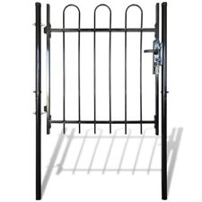 vidaXL Single Door Fence Gate Garden Security Fencing Hoop Top Steel Multi Sizes