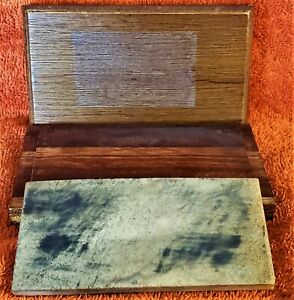 "Vintage 2"" X 4"" Sharpening Honing Stone, Wooden Box"