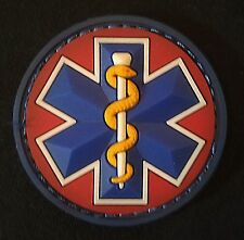 EMT STAR 3D PVC US EMS MEDIC RED WHITE MEDICAL VELCRO® BRAND FASTENER PATCH