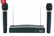 Dual Wireless Microphone System Cordless 2 Mics Included Mic Audio Pro Music