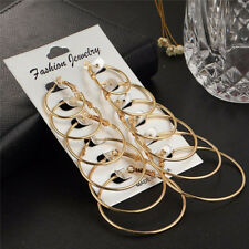 6Pairs/set Gold Silver Vintage Big Circle Hoop Earrings Women Steampunk Ear Clip