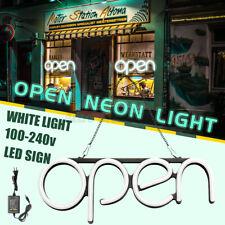 Led Open Sign Neon Light Business Shop Store Pub Horizontal Decor+Hanging Chain