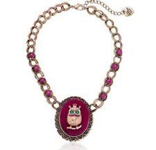 BETSEY JOHNSON 'Woodland' Owl Velour Pendant Brass-Tone Frontal Necklace NWT