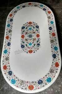 White Marble Coffee Table Top Semi Precious Stones Inlay Work Dining