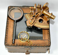 BRASS NAUTICAL COLLECTABLE SEXTANT LEATHER CASE WITH MAGNIFIER+COMPASS GIFT