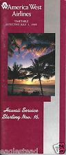 Airline Timetable - America West - 01/07/89 - new service to Hawaii cover