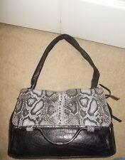 Aimee Kestenberg Leather Snake/Solid Black Gray Shoulder Bag
