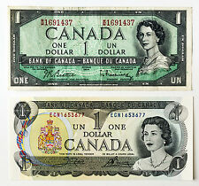 2 different Canada paper money $1 1973 Au-Unc. & $1 1954 f