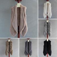 Hot Sale Real Knitted Rabbit Fur Vest Gilet Women Waistcoat Jacket Cardigan Coat
