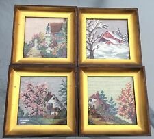 Vintage Framed Four Seasons Needlepoint Crewel - Lot of 4 - Hand Embroidered