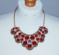 Red & Clear Gem Flower & Antique Goldtone Bib Statement Necklace - NEW