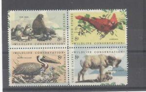 US 8c Birds & Animals Block With Drastic Misplaced Color Error