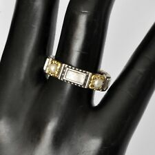 Konstantino Sz 7 Ring Mother of Pearl & Pearl Band Sterling 18K Gold Hestia New