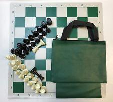 "Chess Set Combo: Green Bag w/ Loop, Board & 3 3/4"" King Pieces - FREE SHIP"