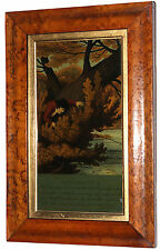 VTG Glass Painting The Complete Angler Izaak Walton Excerpt Depiction Signed