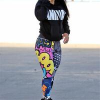 Women Yoga Pants Fitness Gym Trousers Leggings Jogging Bottoms Print High Waist