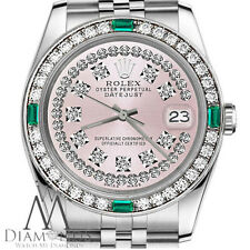 Ladies Rolex 36mm Datejust Pink String Diamond Emerald Dial Vintage Style Watch