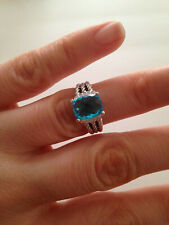 David Yurman Sterling Silver Petite Blue Topaz & Diamond Wheaton Ring Size 5