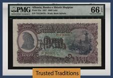 Tt Pk 32a 1957 Albania Banka E Shtetit Shqiptar 1000 Leke Pmg 66 Epq Gem Unc!