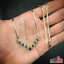 Ladies 10k Gold Genuine Diamond Emerald V Shaped Pendant Necklace Set Vintage